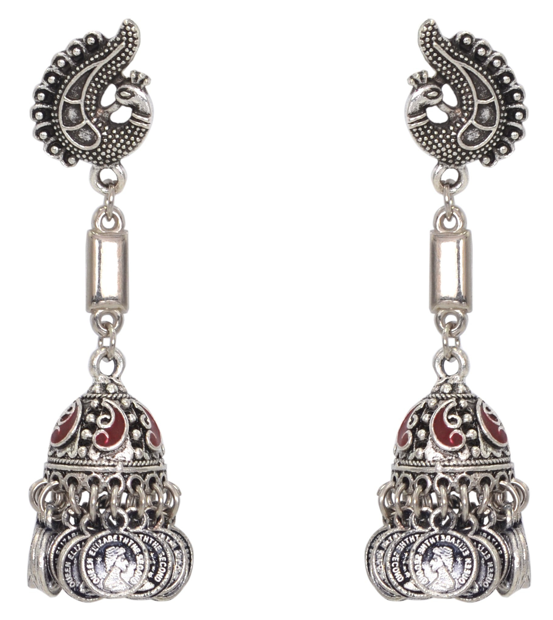 Sansar India Oxidized Stud Long Jhumka Indian Earrings Jewelry for Girls and Women 1210