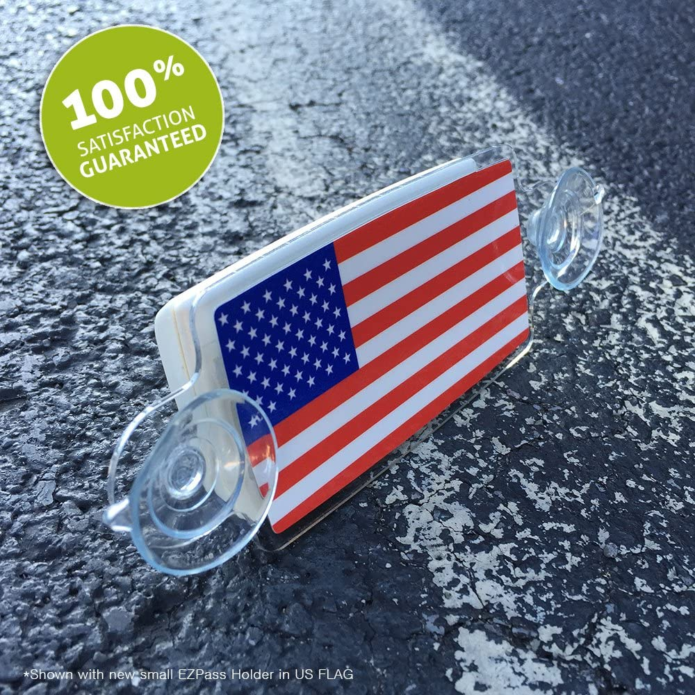 AutoBoxClub US Flag New EZ Pass IPass Tag Holder//Transponder Holder//Toll Pass Windshield Mount//Genuine Reclosable Mounting Strips Included//UV-Protective//Installs in Seconds