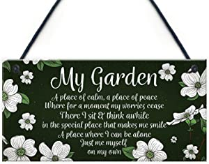 """Meijiafei Novelty Hanging Garden Plaque Present Home Fence Shed Sign Friendship Gift for Her 10"""" X 5"""""""