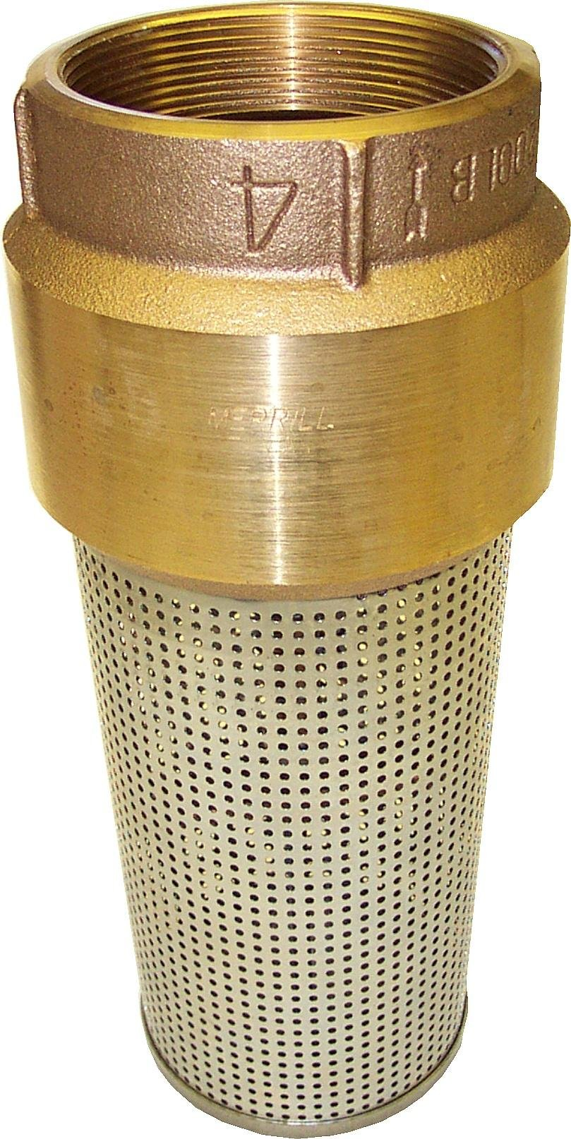 Merrill MFG 039-FV400 Red Brass Foot Valve, Series 810, 4'' Pipe, 1-15/16'' Stainless Steel Strainer, 4''