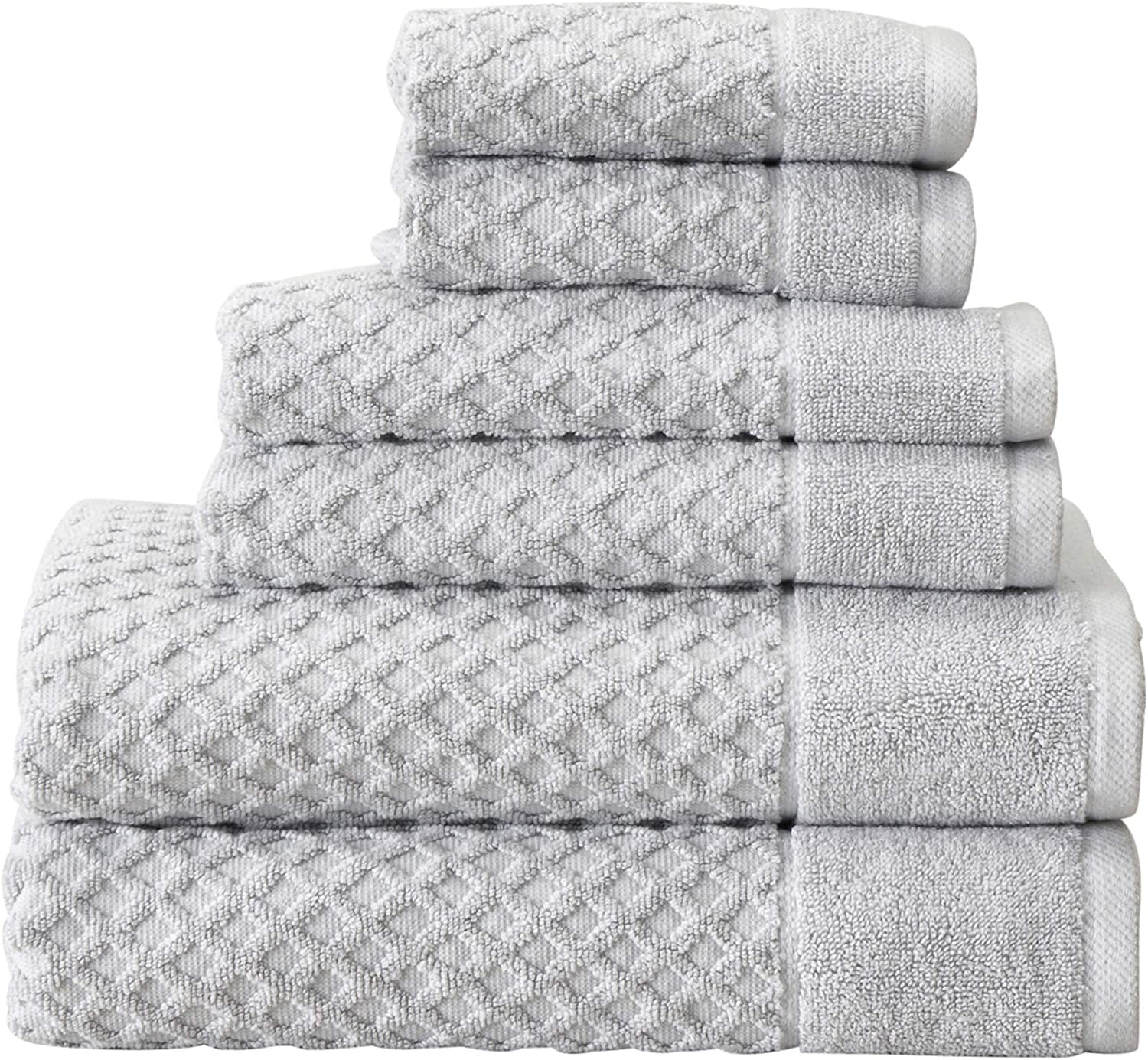 100% Cotton Bath Towels, Luxury 6 Piece Set - 2 Bath Towels, 2 Hand Towels and 2 Washcloths. Absorbent Quick-Dry Textured Towels. Grayson Collection (6 Piece Set, Light Grey): Kitchen & Dining