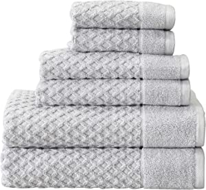 100% Cotton Bath Towels, Luxury 6 Piece Set - 2 Bath Towels, 2 Hand Towels and 2 Washcloths. Absorbent Quick-Dry Textured Towels. Grayson Collection (6 Piece Set, Light Grey)