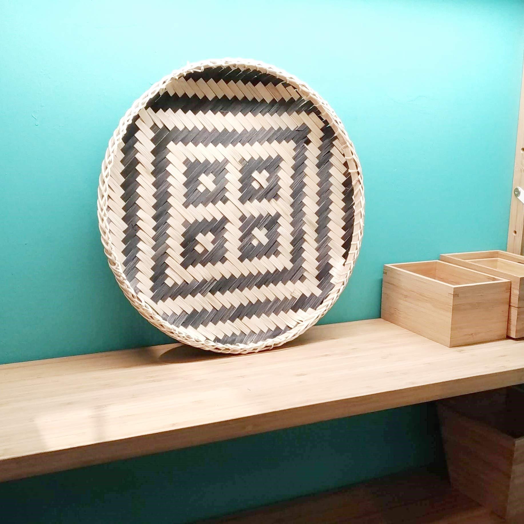 Ann Lee Design Round Serving Trays (Black Square)
