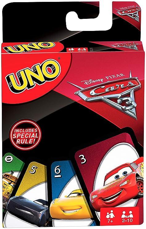 Juegos Mattel- Cars Uno, Uno, Juego de Cartas (FDJ15)