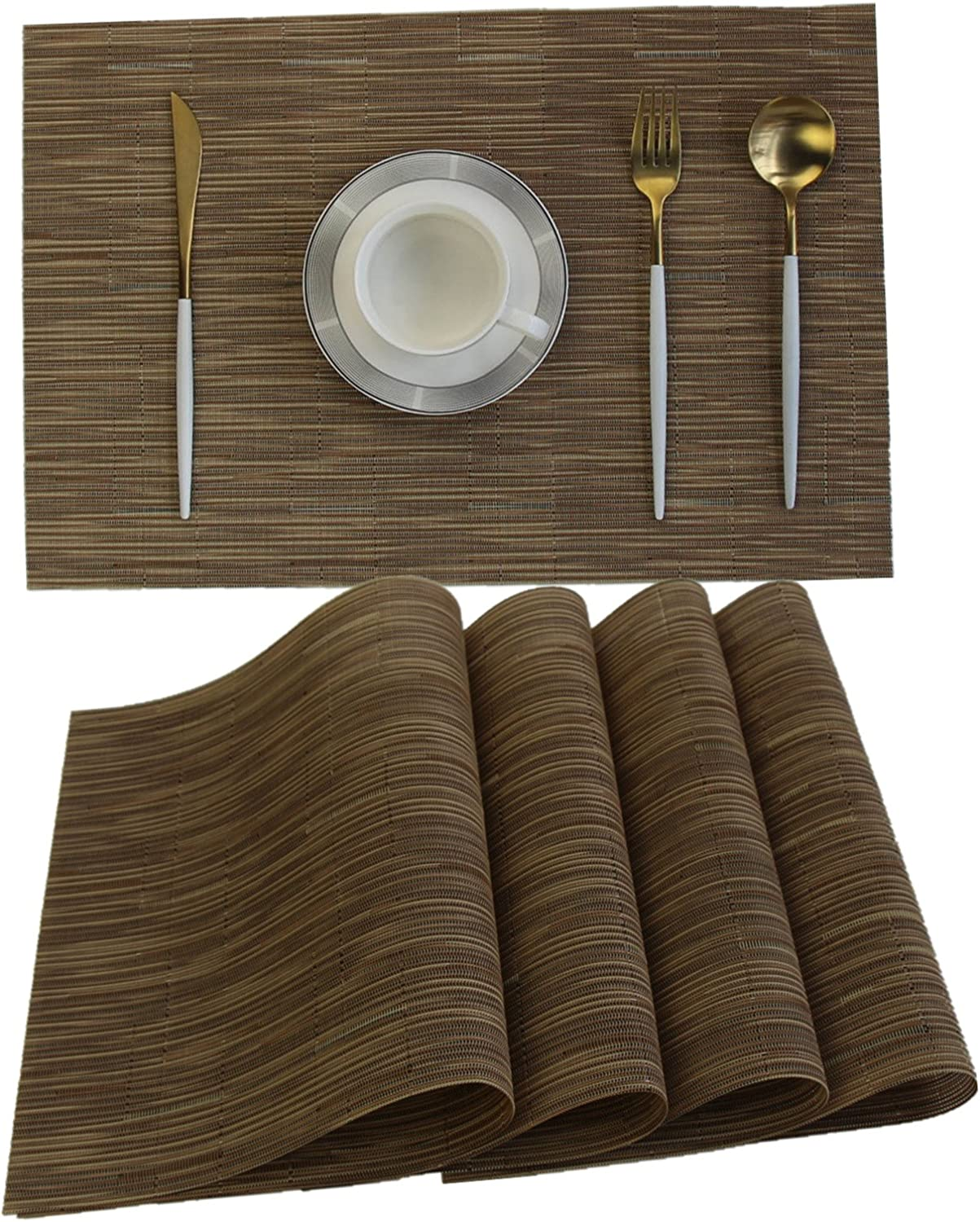"""WANGCHAO Placemats placemat 12""""X18"""" Set of 6 for Dining Table Washable Woven Vinyl Placemat Non-Slip Heat Resistant Kitchen Table Mats Easy to Clean (Rectangular Placemats, Coffee2)"""