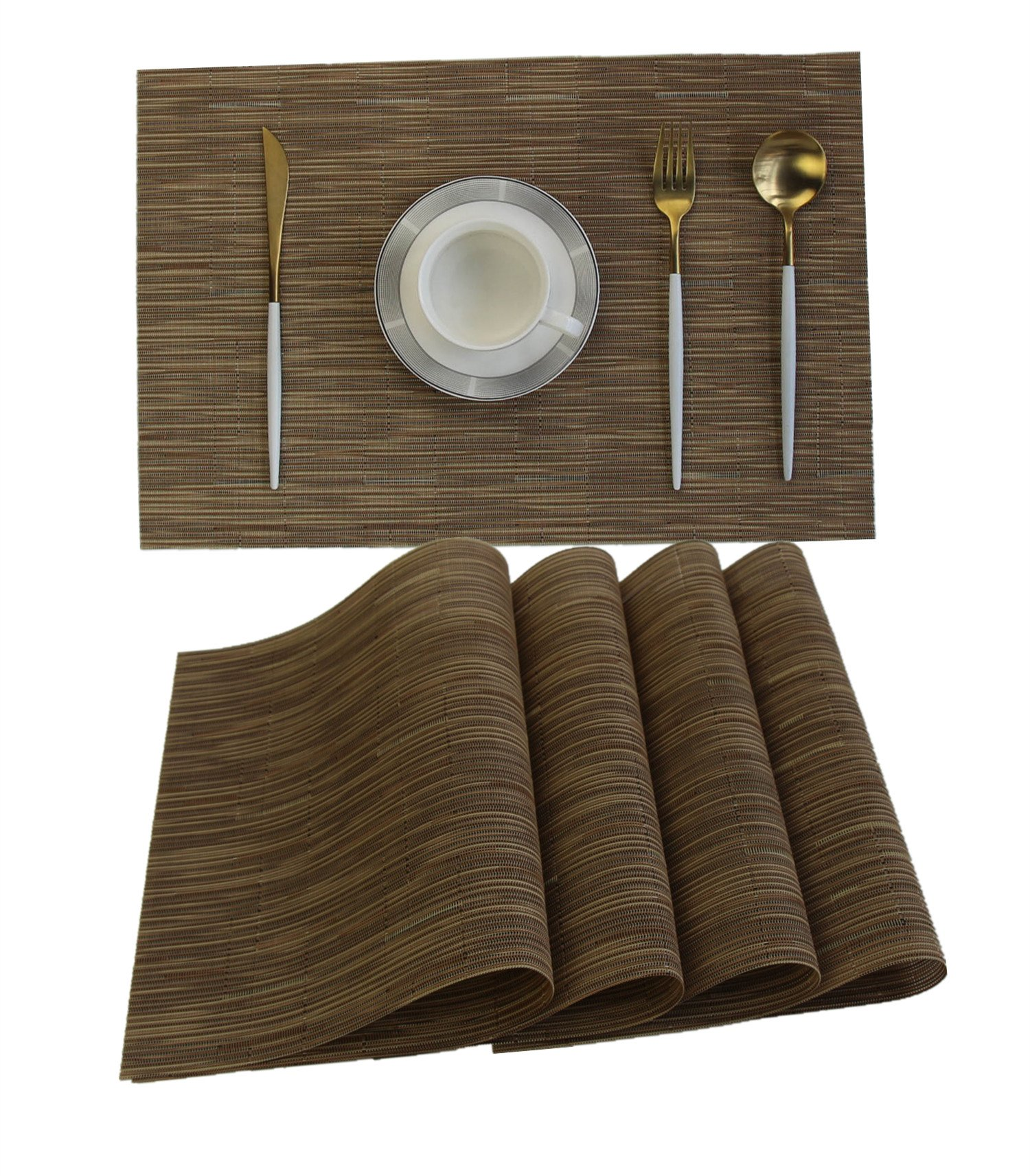 WANGCHAO Placemats Set of 8 Crossweave Woven Vinyl PVC Placemat Washable Table Mats for Kitchen Dinning Table (ombre Khaki, set of 8)