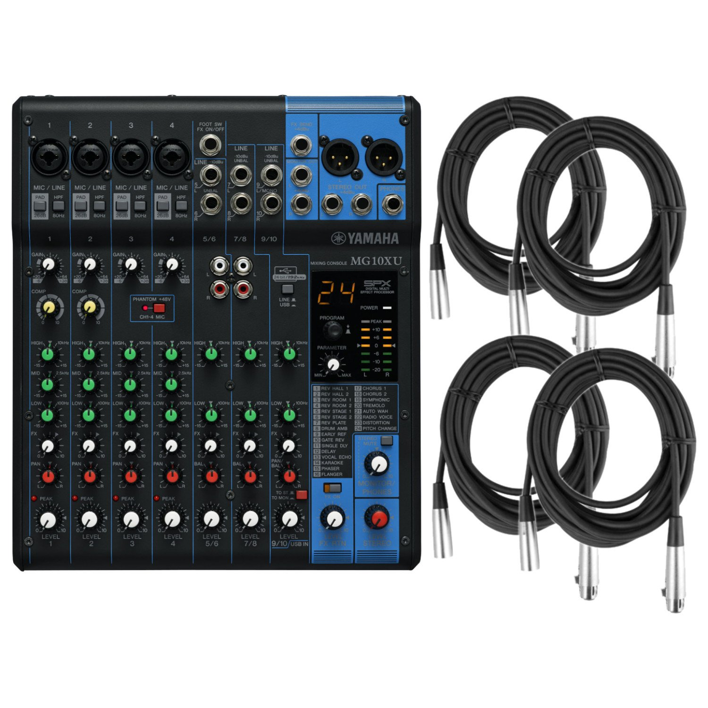 Yamaha MG10XU 10 Input (w/Compression, Effects, and USB) Stereo Mixer w/4 XLR Ca