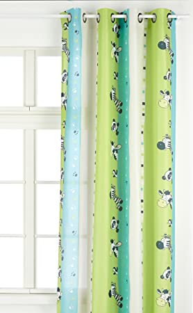 Linder 0206 /80/49807/375FR Rideau Enfant à Oeillets Zèbre Vert  Anis/Turquoise 135 x 260 cm