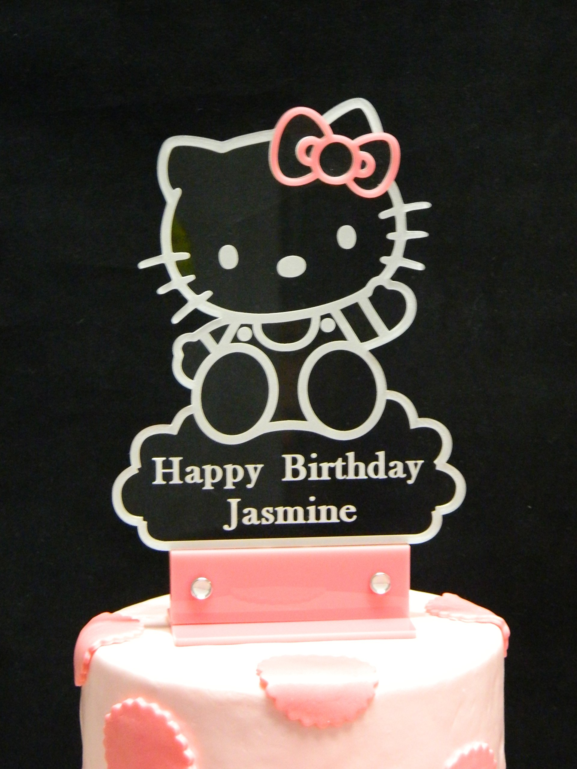 Personalized Hello Kitty Inspired Cake Topper, Personalized in Acrylic and LED Light.