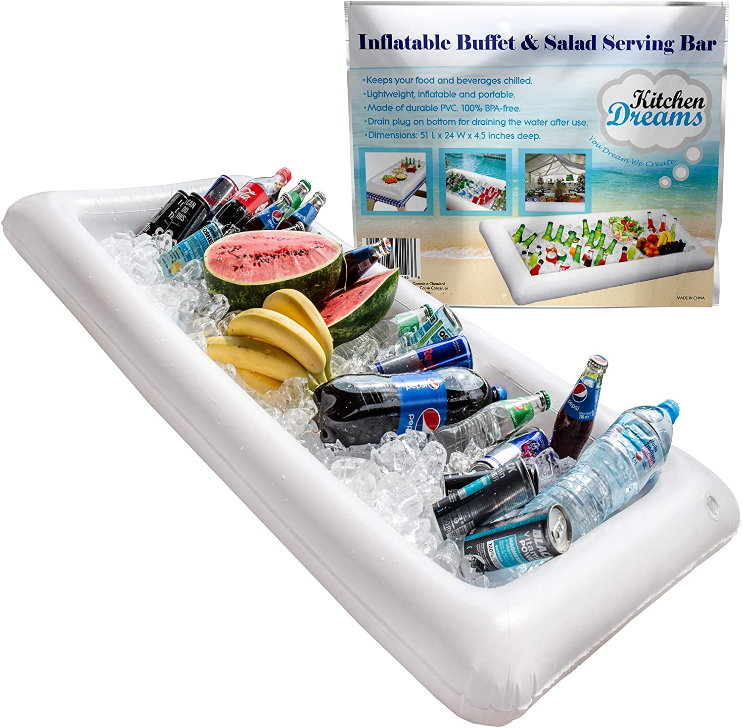 Inflatable Pool Table Serving Bar - Large Buffet Tray Server With Drain Plug - Keep Your Salads & Beverages Ice Cold - For Parties Indor & Outdoor use Bar Party Accessories - Kitchen Dreamers