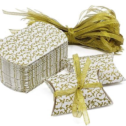 Caja de regalo Candy de papel Kraft, caja de almohadas para bodas, fiestas de cumpleaños, 50 unidades, dorado, Gold Box