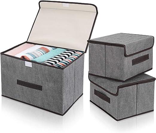 DIMJ Cajas Almacenaje con Tapa, Conjunto de 3 Cajas Organizadoras ...