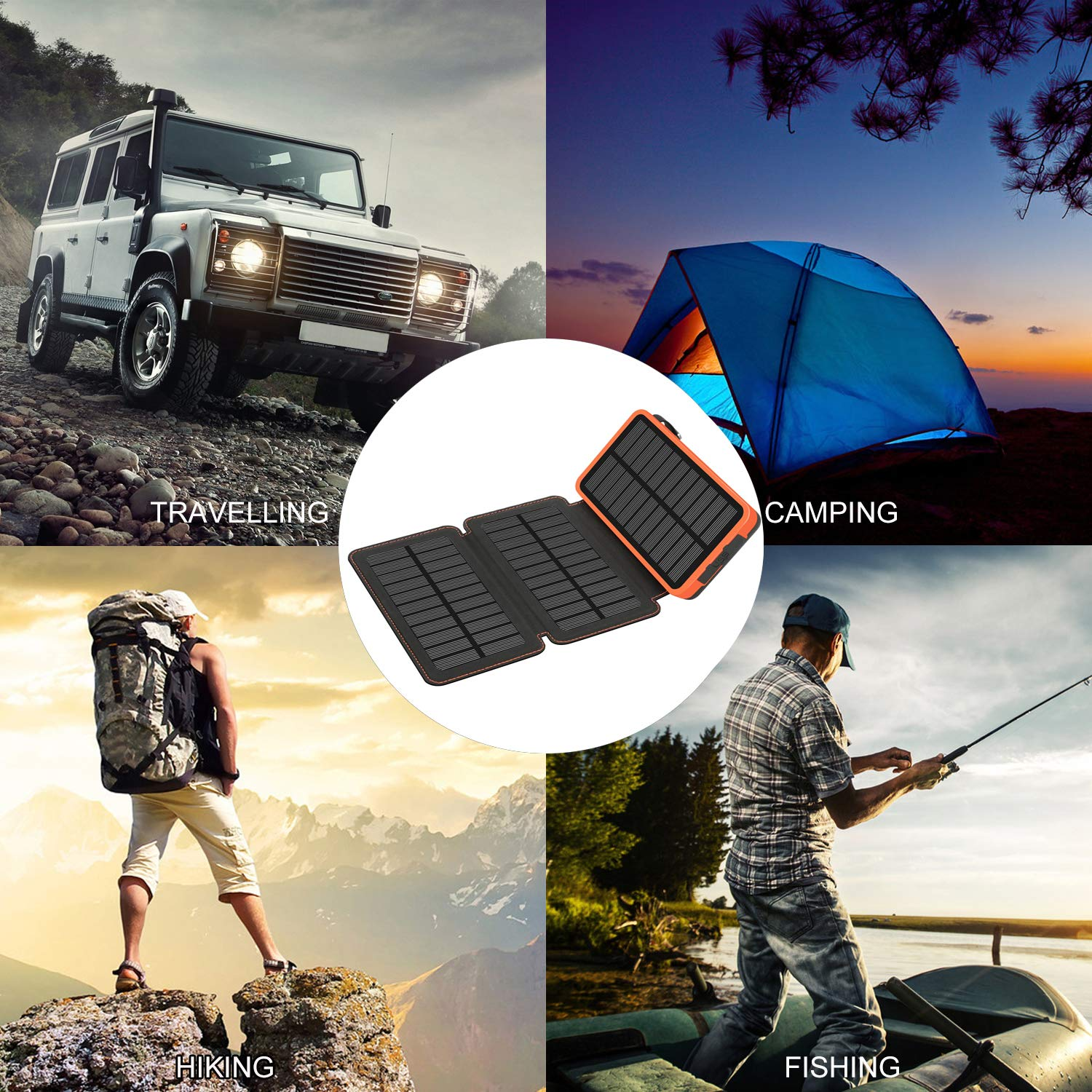 Solar Charger 24000mAh,Solar Power Bank Waterproof Dual USB Output with 3 Solar Panels External Battery Bank with Flashlight for iPhone,Samsung,iPad and Outdoor Camping(Orange) by WBPINE (Image #7)