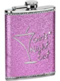 Premier Housewares Girls Night Out Glitter Hip Flask, 8 oz - Hot Pink