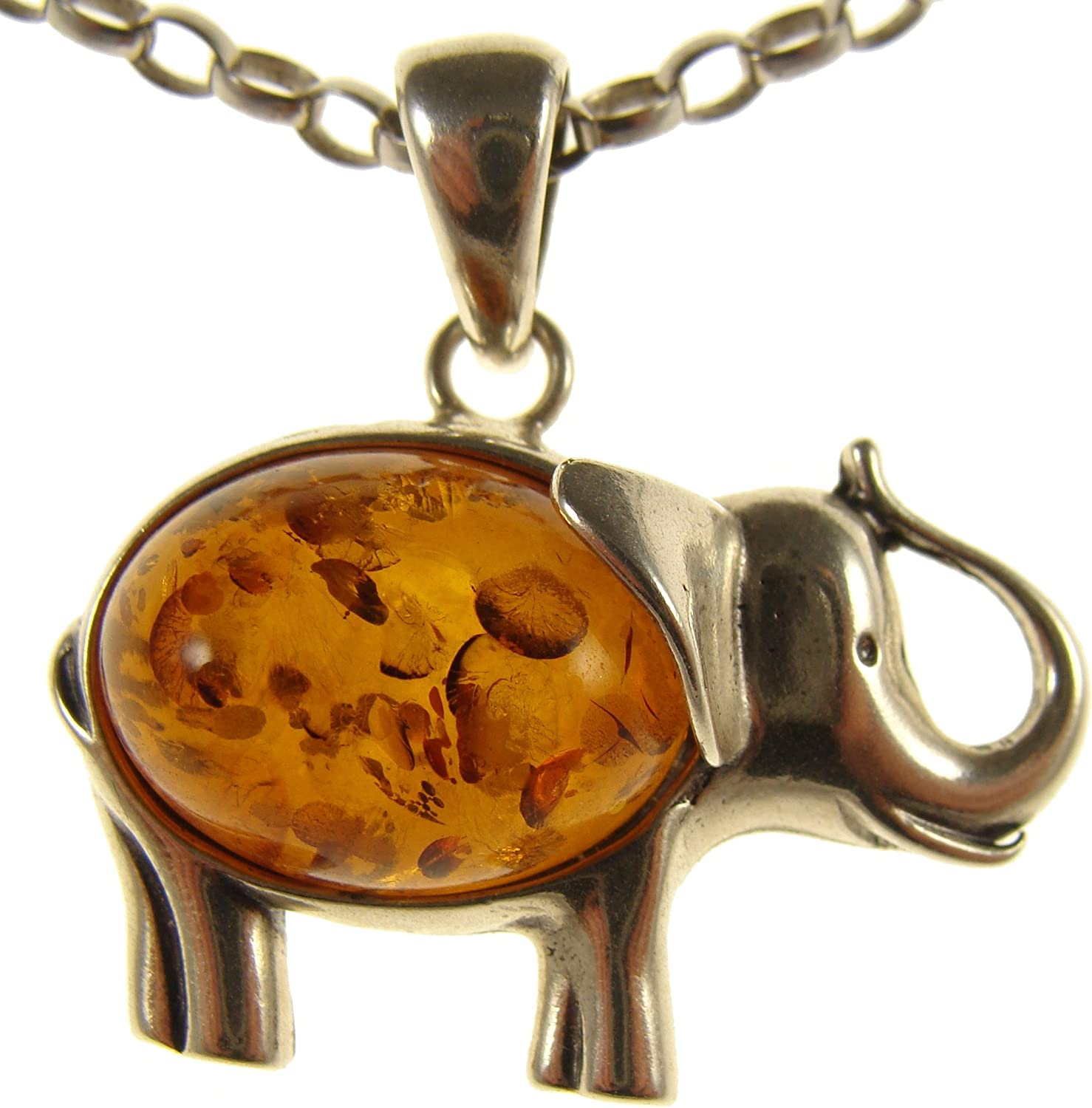 BALTIC AMBER STERLING SILVER 925 ELEPHANT ANIMAL PENDANT NECKLACE CHAIN JEWELRY