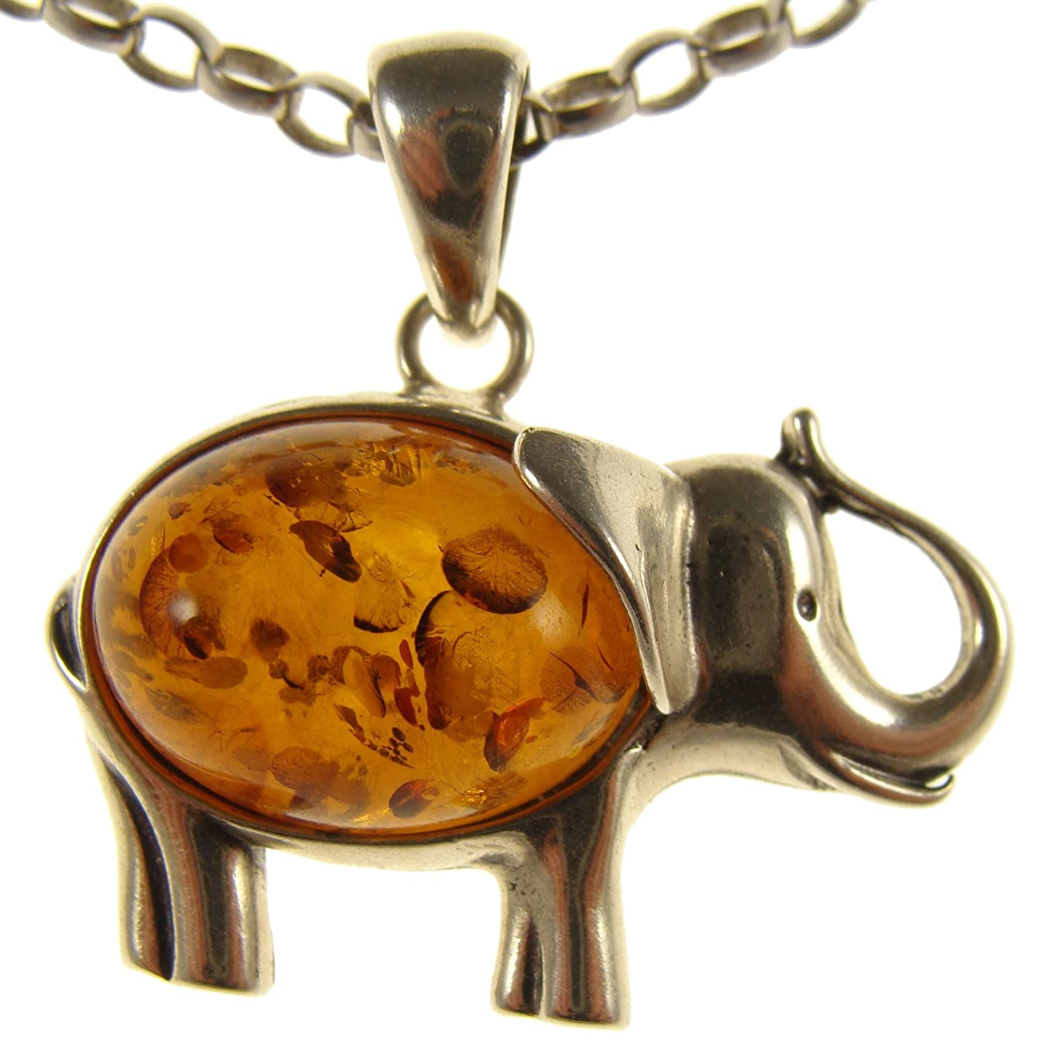 BALTIC AMBER AND STERLING SILVER 925 ELEPHANT PENDANT NECKLACE 14 16 18 20 22 24 26 28 30 32 34 1mm ITALIAN SNAKE CHAIN