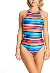 bb61ba66fec89 Zoggs Women s Mexicali High Neck Crossback Eco Fabric One Piece Swimsuit