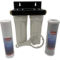 Beech Lane External RV Dual Water Filter System, Leak-Free Brass Fittings, Mounting Bracket and Two Filters Included, Sturdy Construction is Built to Last