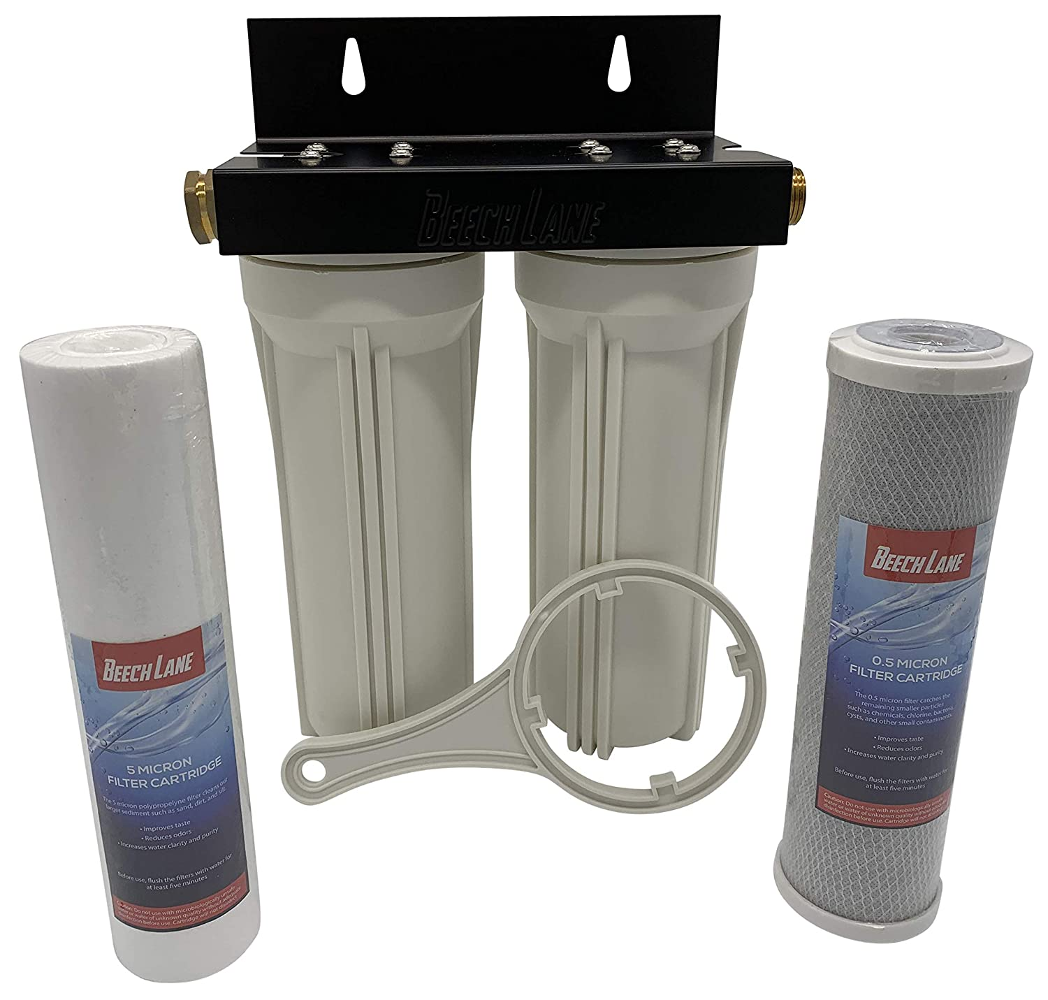 Beech Lane Dual RV Water Filter System, Leak-Free Brass Fittings, Mounting Bracket and Two Filters Included, Sturdy Construction is Built to Last