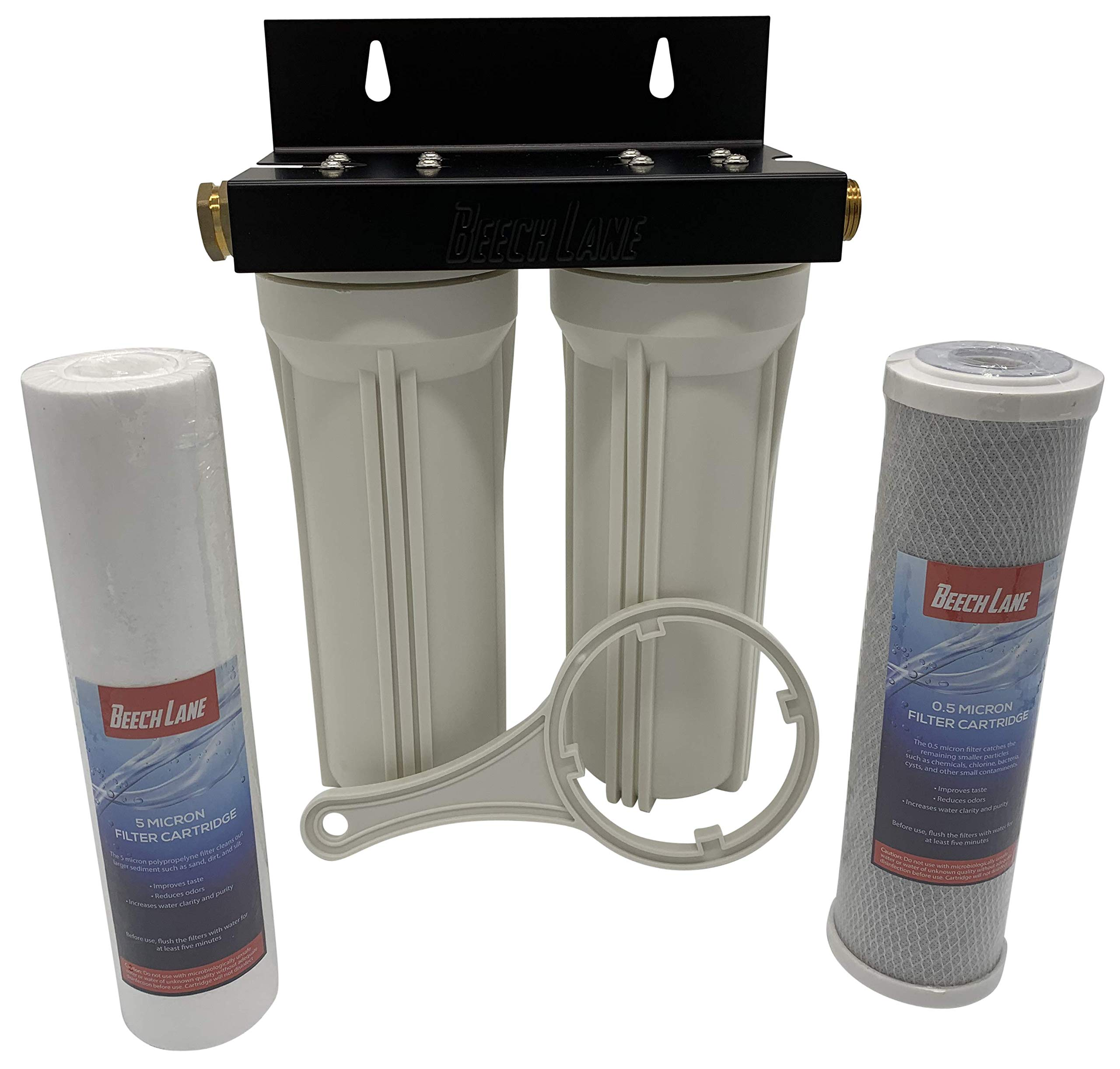 Beech Lane External RV Dual Water Filter System, Leak-Free Brass Fittings, Mounting Bracket and Two Filters Included, Sturdy Construction is Built to Last by Beech Lane
