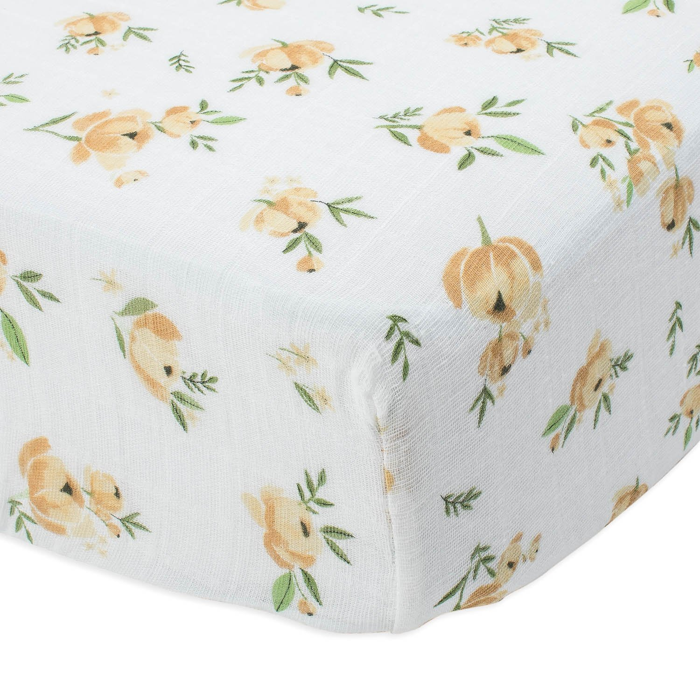 Little Unicorn Cotton Muslin Crib Sheet - Yellow Rose by Little Unicorn