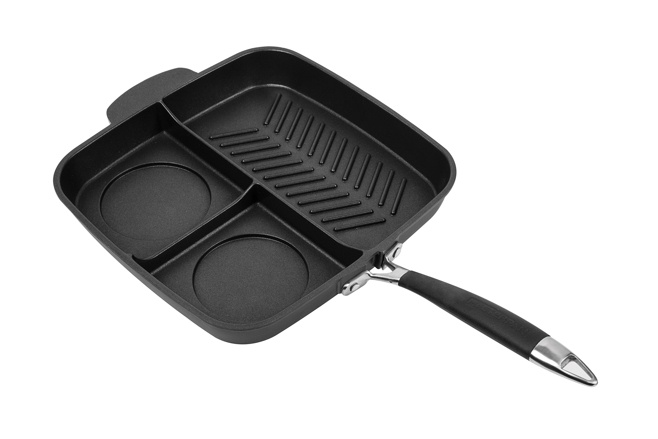 MasterPan Non-Stick 3 Section Meal Skillet, 11'', Black