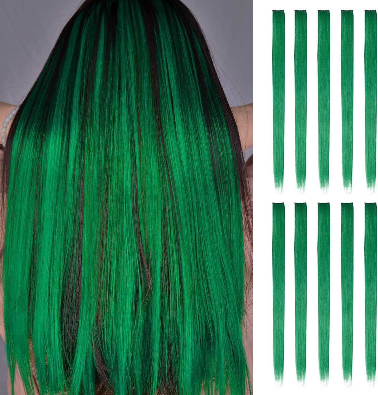 FESHFEN extensiones de cabello colores, 10Pcs de cabello Pasto verde para niñas Party Highlight Postizos de pelo color liso y colorido Clip en ...