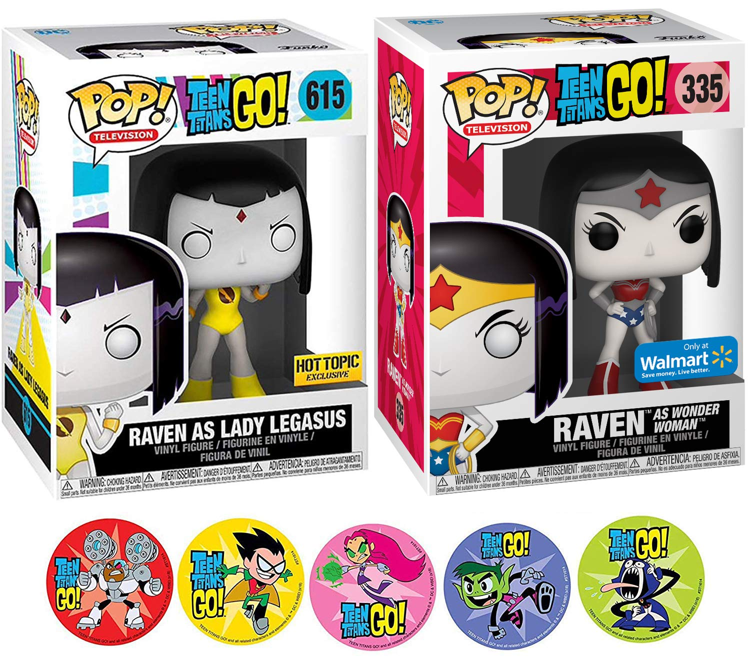 Robin Beast Boy /& Cyborg 3 Item Bundle AYB Products Starfire Funko Raven As Character Teen Titans Wonder Woman Figure /& Lady Pegasus Hero Pack Adventure Cartoon Toy Super DC Pop Exclusive with Action Stickers