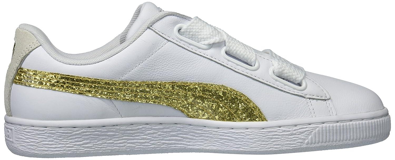 PUMA Women's Basket B(M) Heart Glitter Wn Sneaker B06XWBY7TD 10.5 B(M) Basket US|Puma White-gold 20e7ce