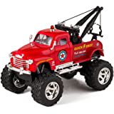 Red 1953 Chevy Off-Road Wrecker Die Cast Tow Truck Toy with Monster Wheels