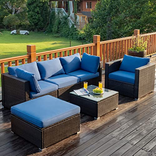 Tangkula 6 PCS Patio Rattan Sectional Furniture Set