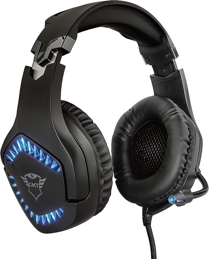 Trust Cascos Gaming GXT 460 Varzz - Auriculares para Gaming con iluminación para PC, Micrófono plegable - Negro: Amazon.es: Informática