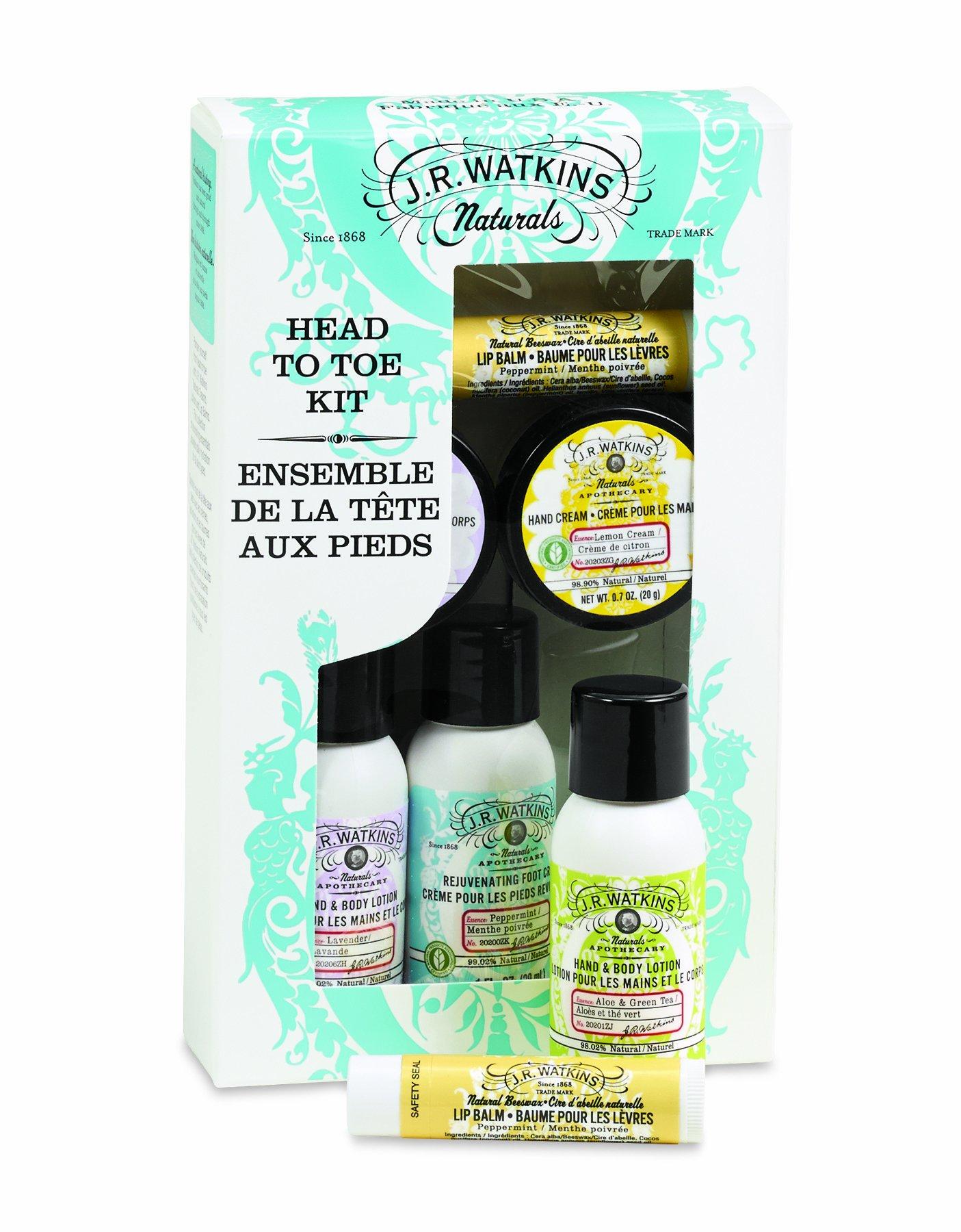 J.R. Watkins Skin Care Gift Set, Head To Toe, Hand Cream/Hand & Body Lotion/Foot Cream/Lip Balm