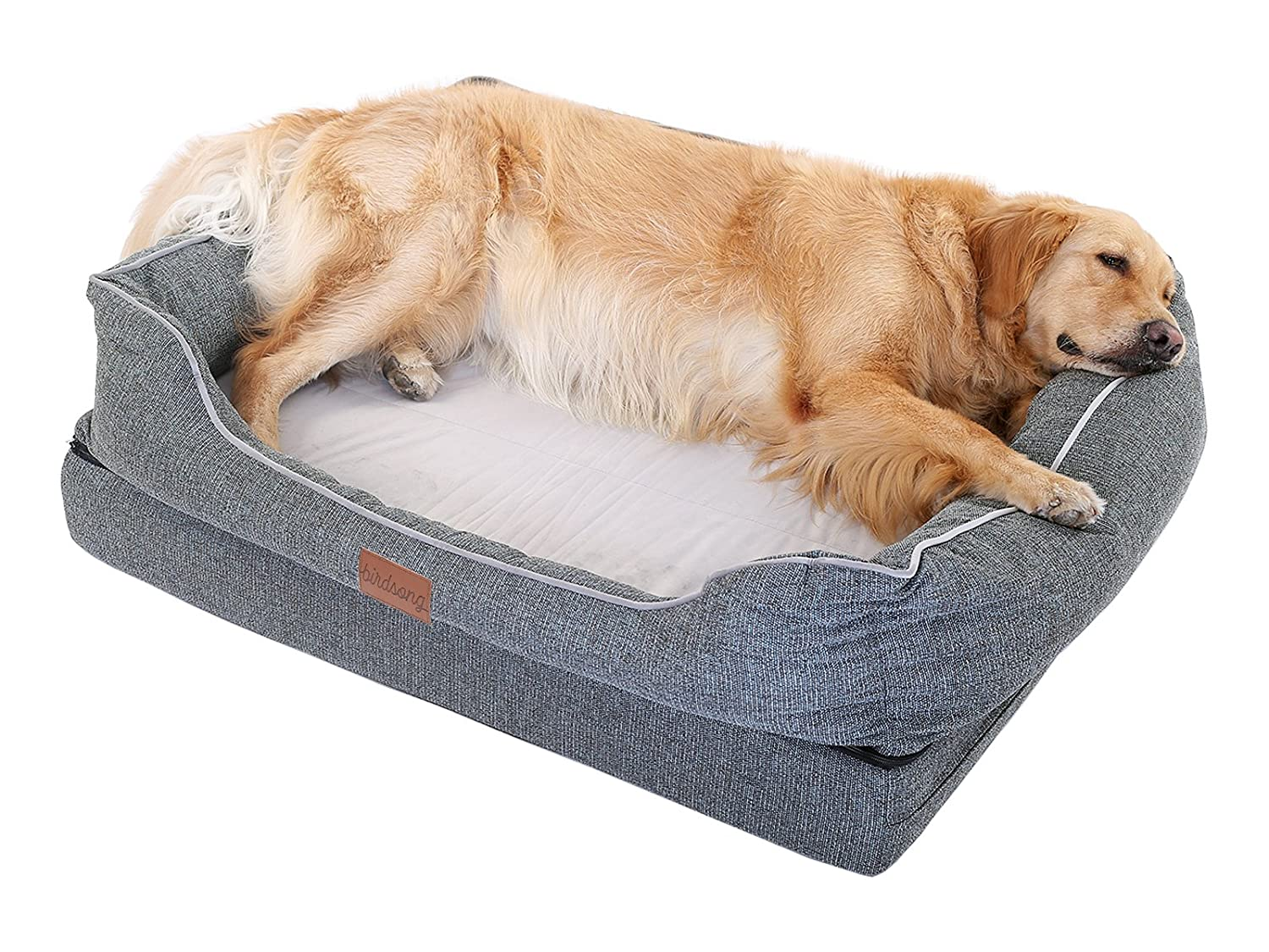 Extra Large PLS Birdsong Fusion Orthopedic Dog Bed with Plush Bolster Sides, Extra Large, Firm Foam Dog Bed, Dog Beds for Large Dogs with Removable Cover