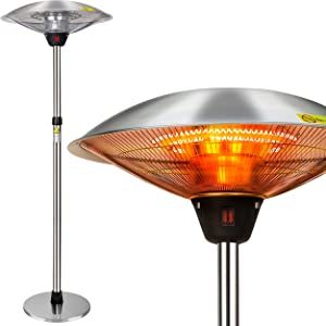 FORUP Electric Patio Heater, Space Heater for Patio, Freestanding Portable Outdoor Patio Heater, Umbrella-Shaped Adjustable Height Space Heater for Indoor Outdoor Use
