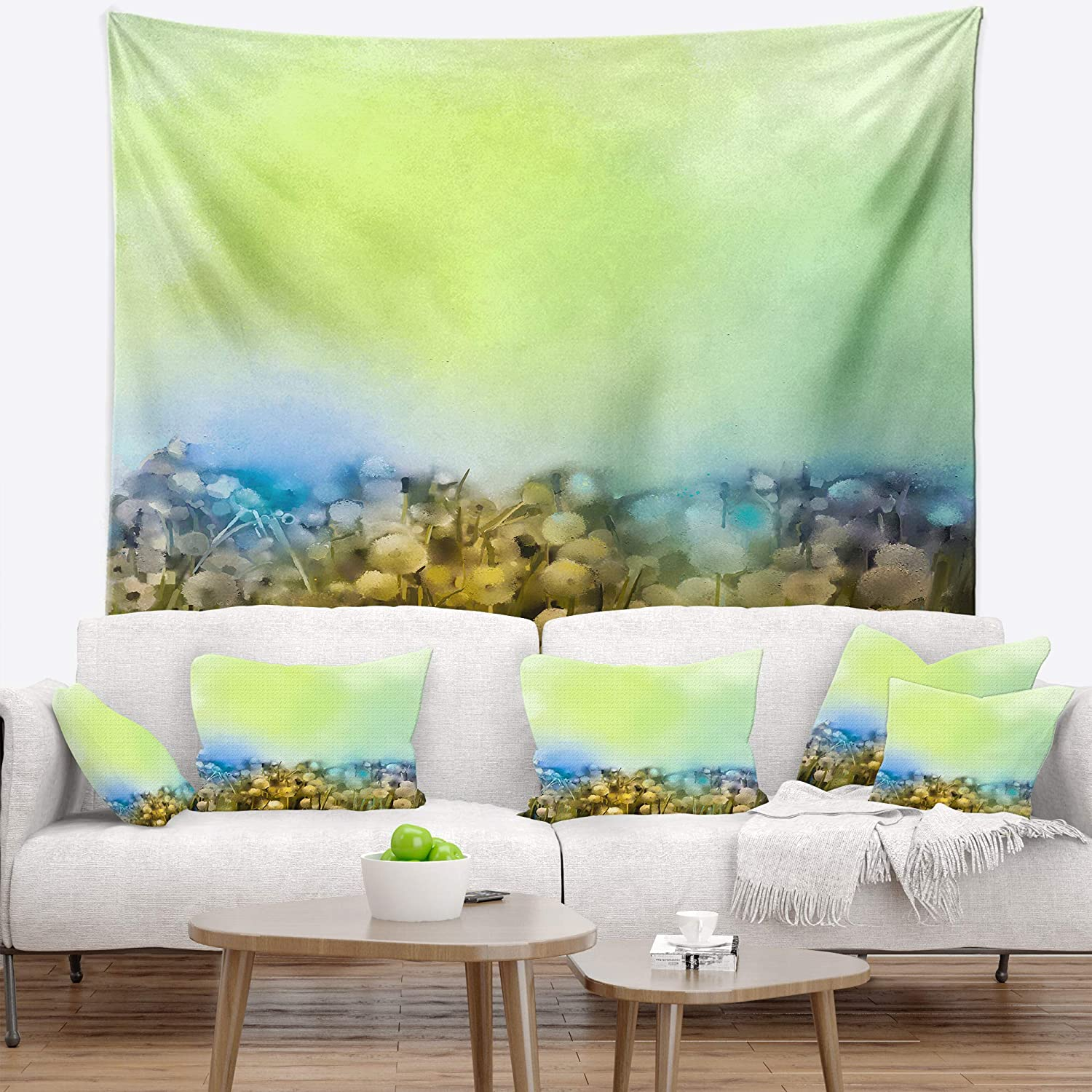 x 80 in in 68 in Designart TAP14082-68-80  White Flowers Garden in Soft Color Floral Blanket D/écor Art for Home and Office Wall Tapestry XX-Large