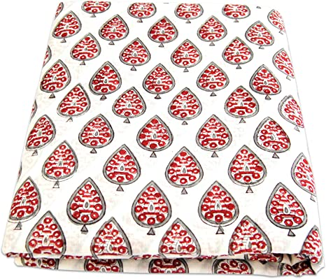 10 Yards Indian Hand Block Printed Cotton Fabric Running Crafts Sewing Material