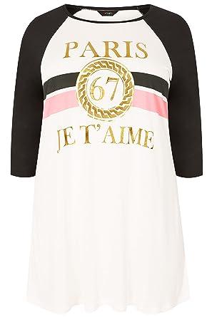 6c14c239 Yours Clothing Women's Plus Size Black & 'Paris Je T'Aime' Slogan T ...