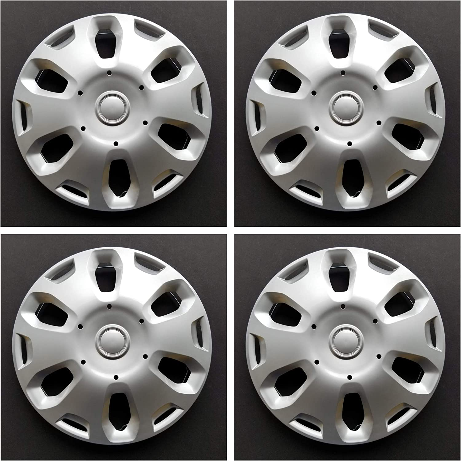 New Wheel Covers Replacements Fits 2010 2013 Ford Transit Connect 15 Inch; 6 Spoke; Silver Color; Plastic; Set of 4; Spring Steel Clip