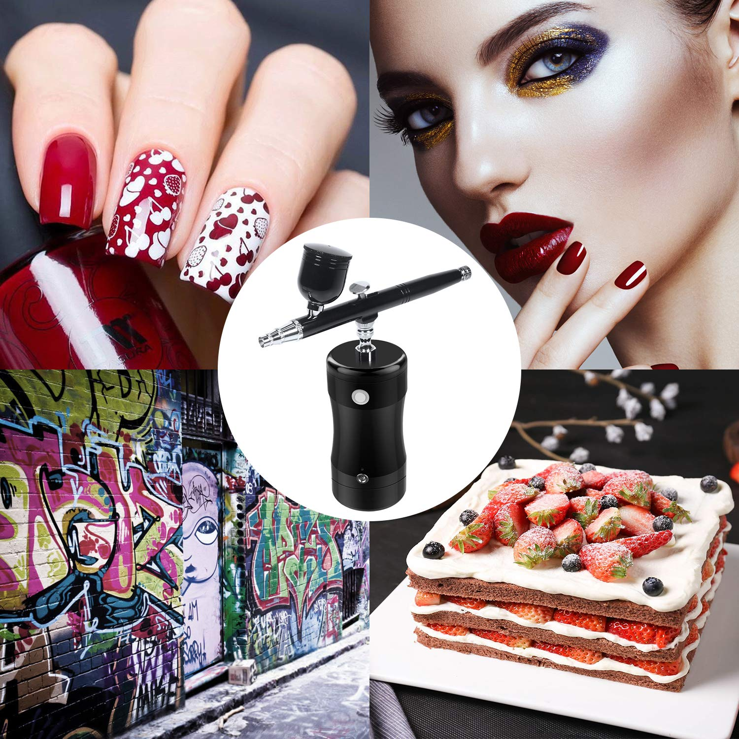 LATITOP Airbrush Kit Rechargeable Handheld Dual-Action Mini Air Compressor Airbrush Set with 0.4mm Nozzles, Portable Cordless Airbrush Gun with Low Noise for Makeup, Tattoo, Nail Art, Face Paint, Cake