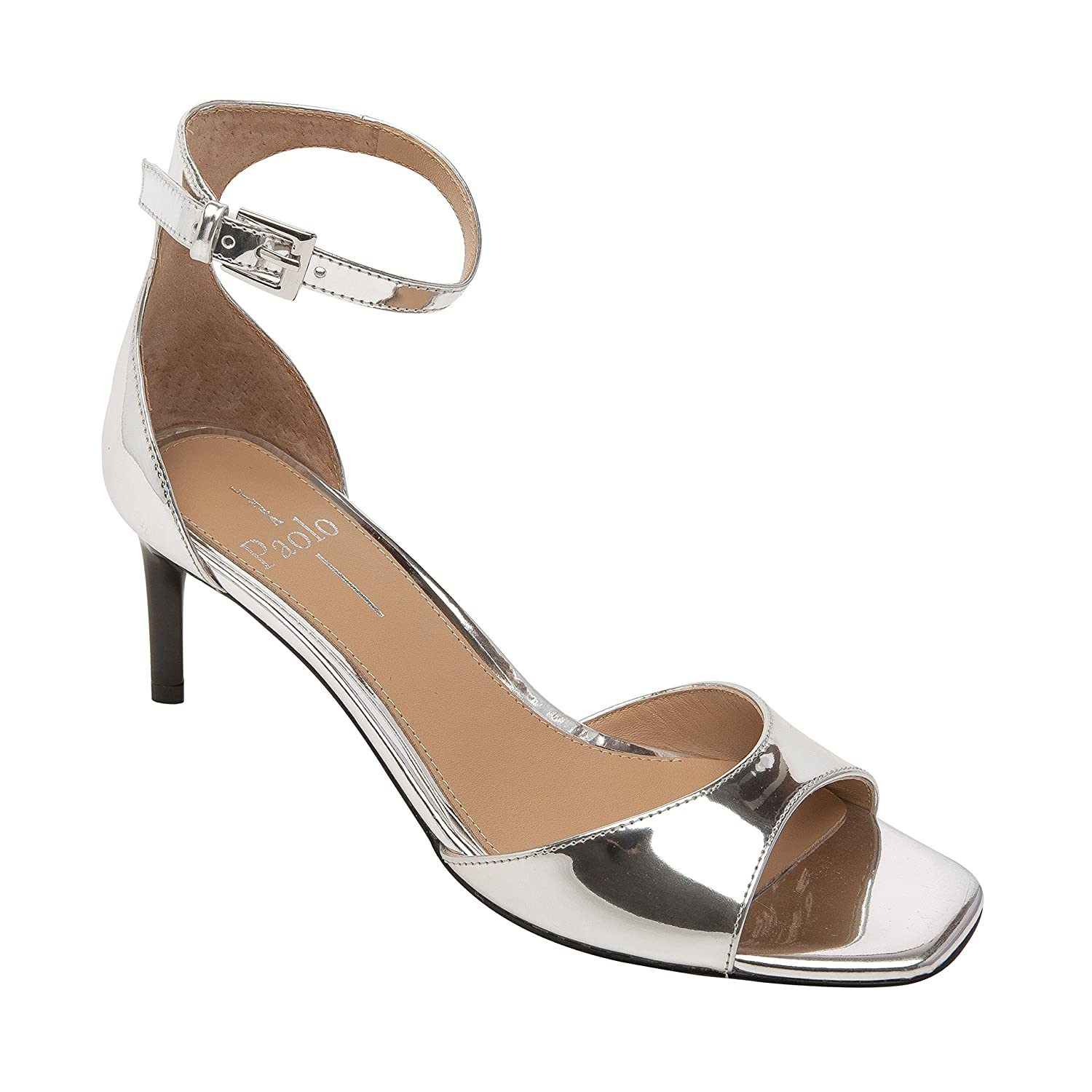 Linea Paolo Helen | Women's Mid-Height Leather Ankle Strap Sandal B07957PT15 8.5 M US|Silver Leather