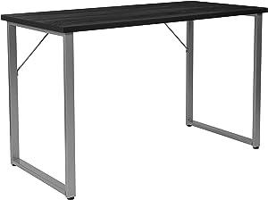 Flash Furniture Harvey Black Finish Computer Desk with Silver Metal Frame