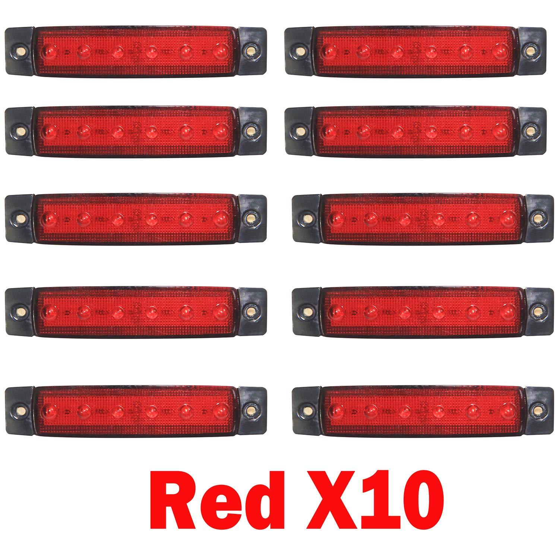 High Key 10pcs 6 LED SMD Side Marker Lights Front Rear Indicators Lamps 12V for Trailer Truck Caravan Camper Van Lorry Bus (Red)