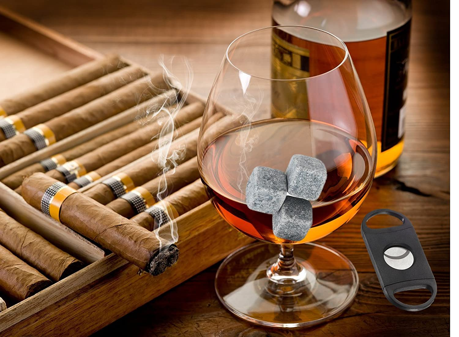 Ramini Brands Premium Whiskey Cooling Stones 9 Piece Set BEST WHISKEY Cooling STONES for Classic Gentlemen Connoisseurs Prevents Watering Down or Diluting
