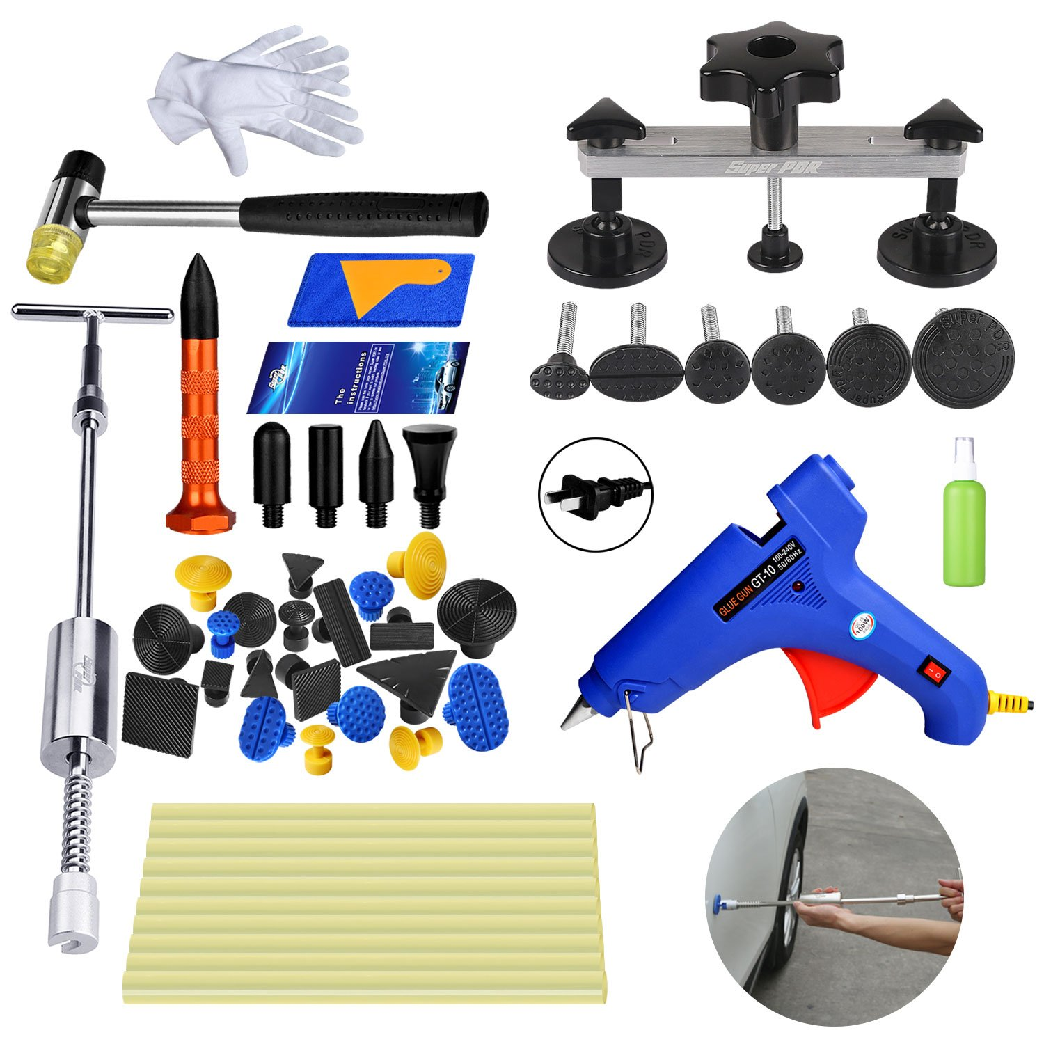 AUTOPDR 48Pcs DIY Auto Body Paintless Dent Repair Removal Remover Tools Kit Dent Puller Slide Hammer Car Door Dent with Hot Glue Gun Sticks Pulling Tabs