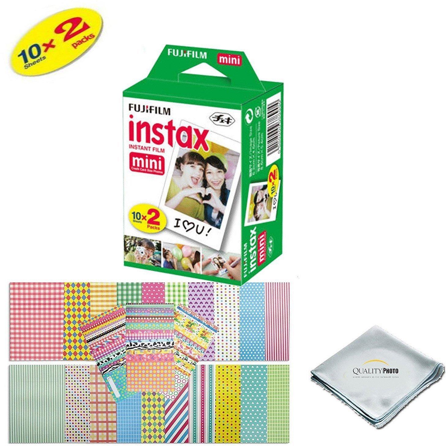 Fujifilm Instax Mini 9 Instant Camera - SMOKEY WHITE + Fuji INSTAX Film (20 Exposures) + Multifarious Instax Accessory Kit BUNDLE Includes; Case/Strap & Album + Fun Frames/Stickers/Lenses + MORE