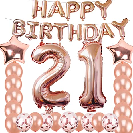 21st Birthday Decorations Party Supplies Jumbo Rose Gold Foil Balloons For