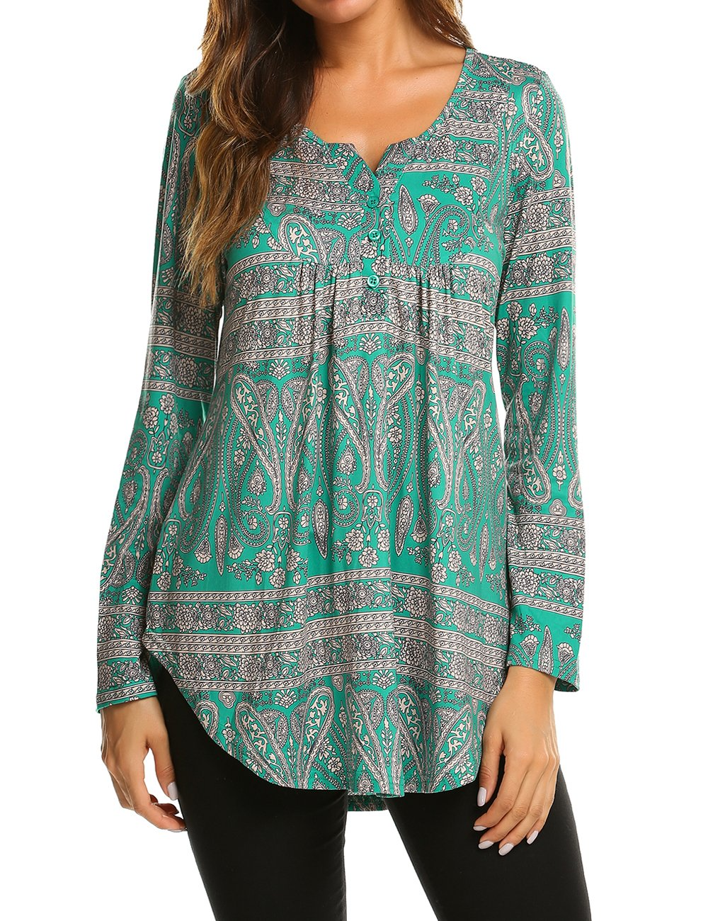 24bdc7c0e6dcc8 Women s Paisley Printed Long Sleeve Henley V Neck Pleated Casual Flare  Tunic Blouse Shirt product image
