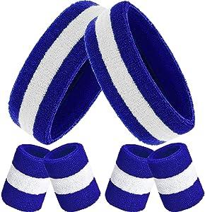Bememo 6 Pieces Sweatbands Set, Includes 2 Pieces Sports Headband and 4 Pieces Wristbands Sweatbands Cotton Sweatband Set for Men and Women
