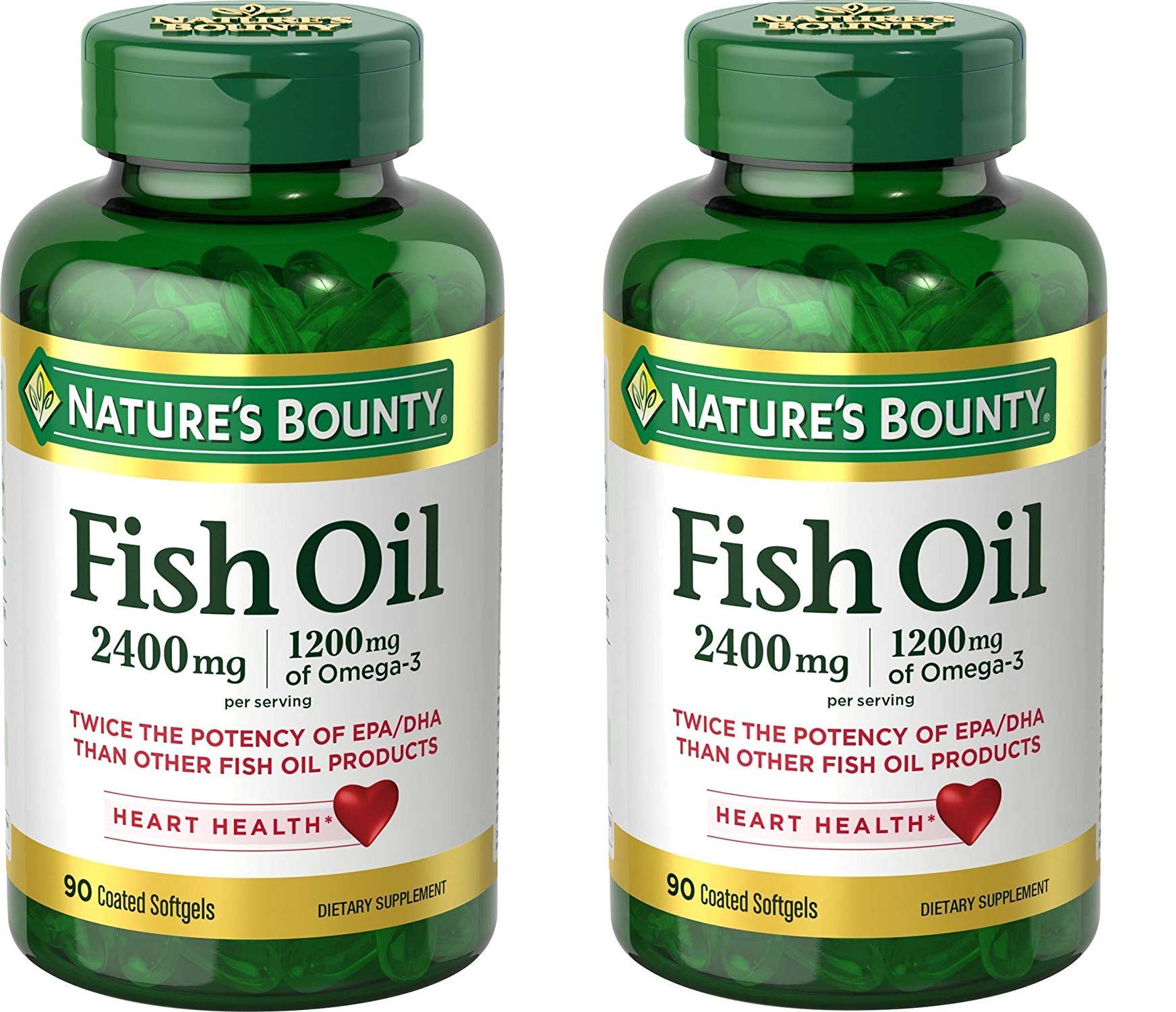 Nature's Bounty Fish Oil 2400 mg Softgels, (Pack of 2)